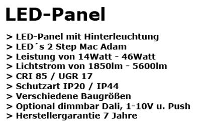LED-Panel Text - TLV Lichtplanung
