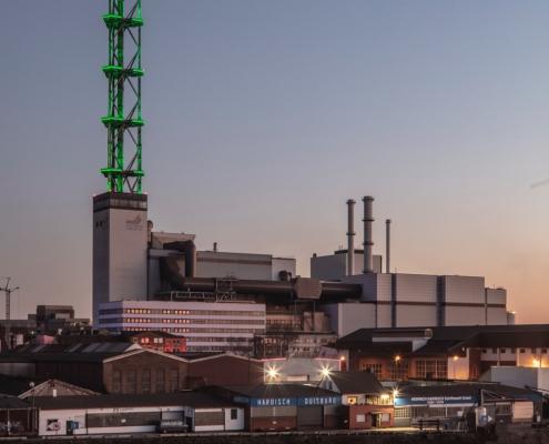 Stadtwerketurm Duisburg bei Nacht